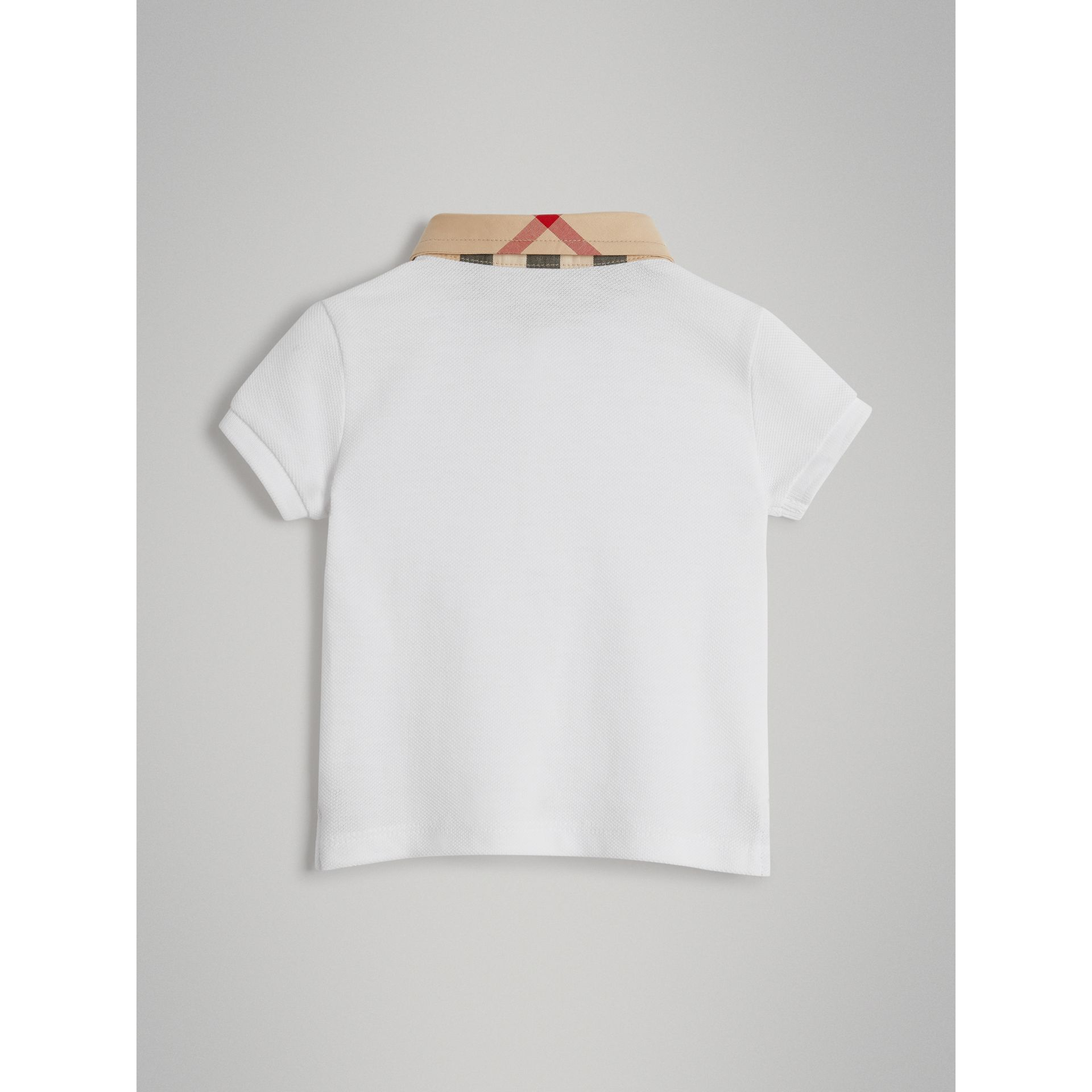 Check Collar Cotton Polo Shirt in White - Children | Burberry - gallery image 3