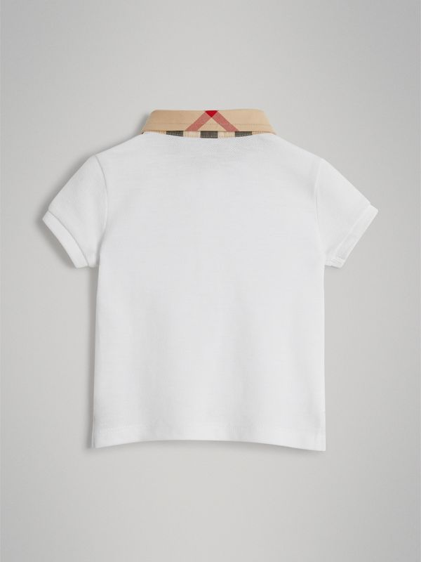 Check Collar Cotton Polo Shirt in White - Children | Burberry Australia - cell image 3
