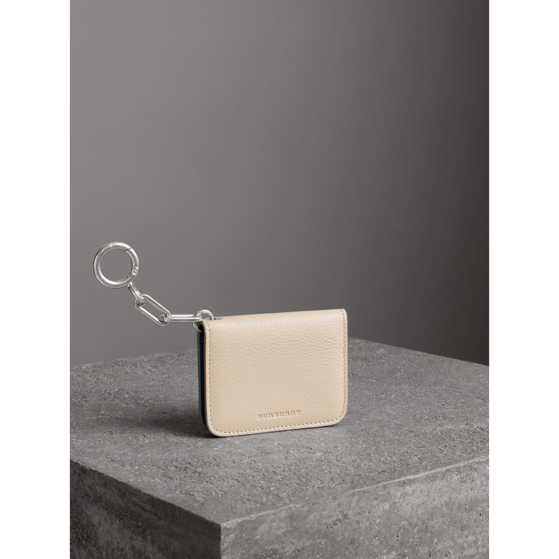 Link Detail Leather ID Card Case Charm in Stone | Burberry - gallery image 5