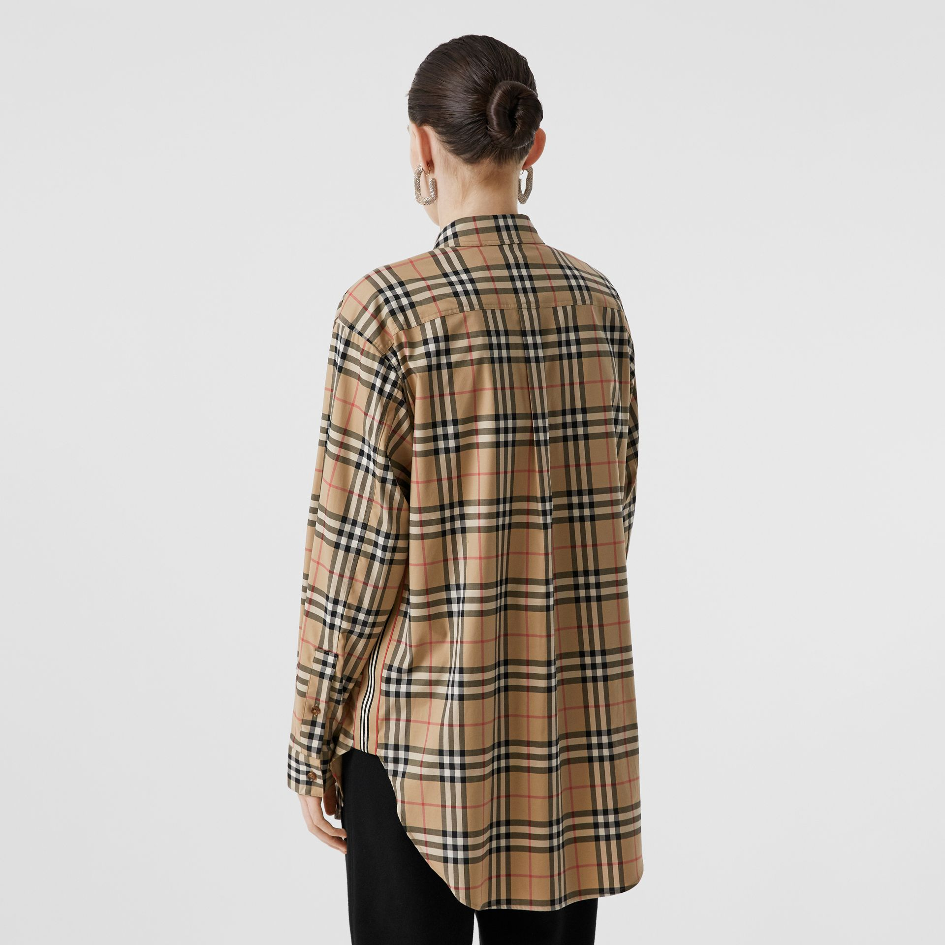 Vintage Check Stretch Cotton Oversized Shirt in Archive Beige - Women | Burberry - gallery image 2