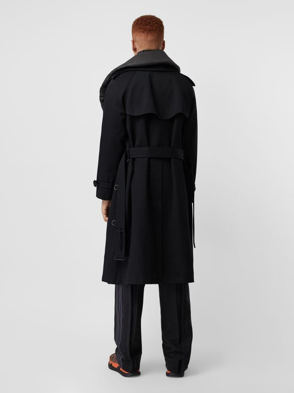 Detachable Collar Cotton Wool Trench Coat in Black - Men | Burberry United States - cell image 2