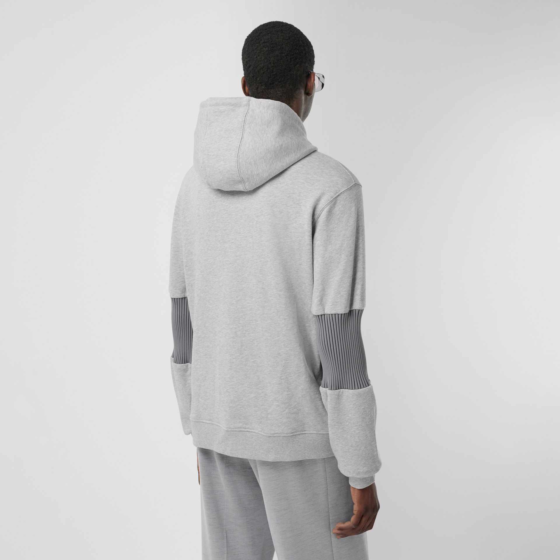 Panelled-sleeve Cotton Hoodie in Grey Melange | Burberry - gallery image 2