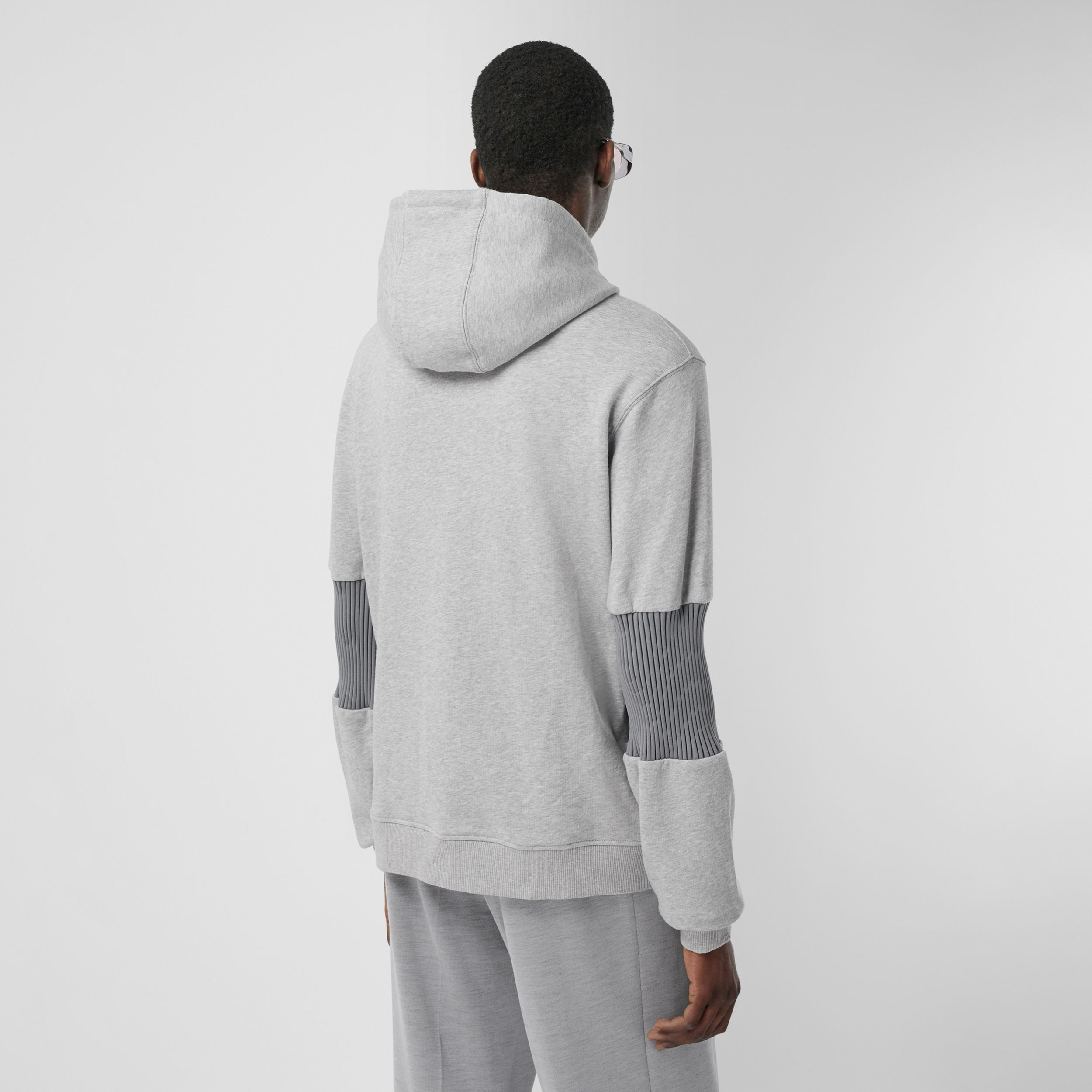 Panelled-sleeve Cotton Hoodie in Grey Melange - Men | Burberry - 3
