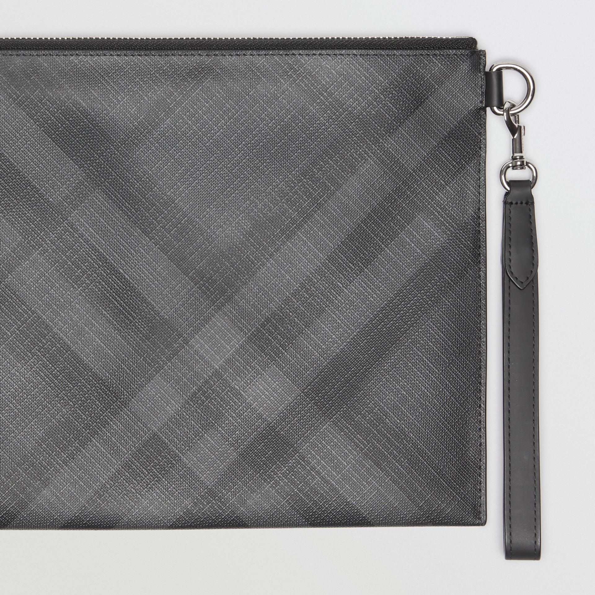 London Check Zip Pouch in Charcoal/black | Burberry Australia - gallery image 1
