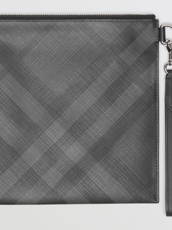 London Check Zip Pouch in Charcoal/black | Burberry Australia - cell image 1