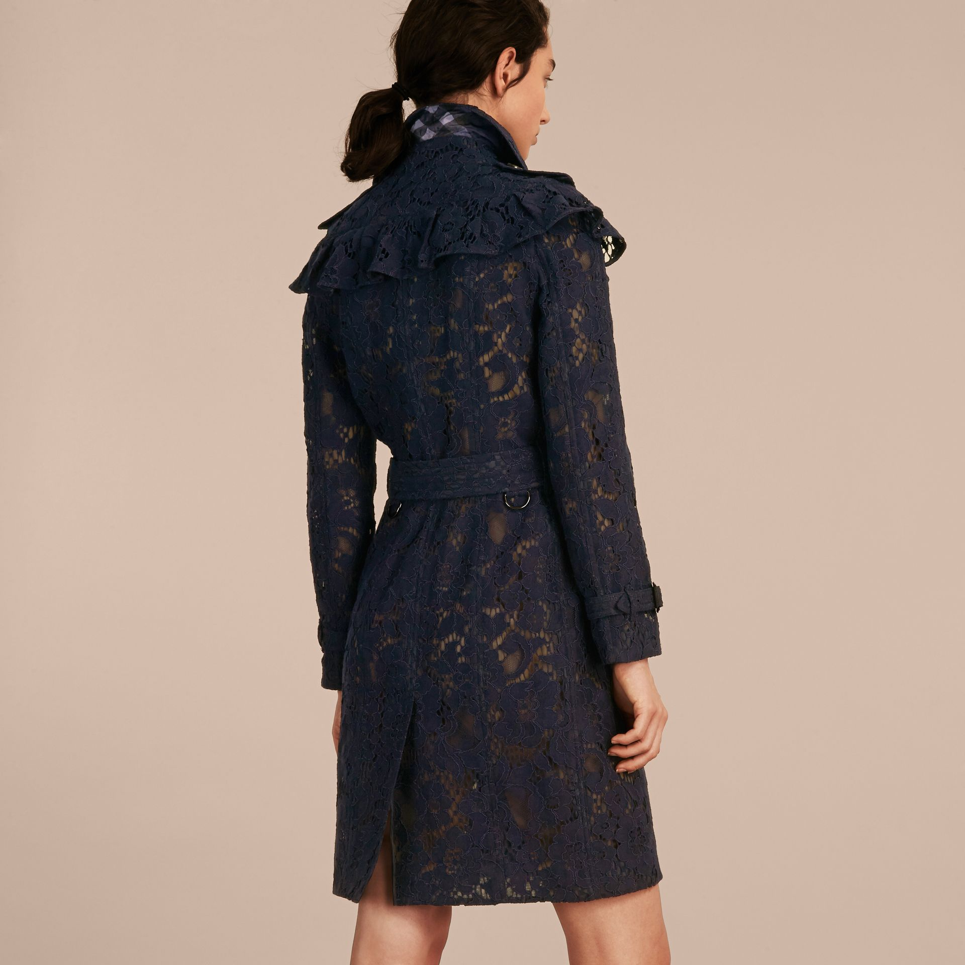 Ruffle Detail Macramé Lace Trench Coat Navy - gallery image 3