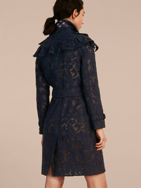Ruffle Detail Macramé Lace Trench Coat Navy - cell image 2