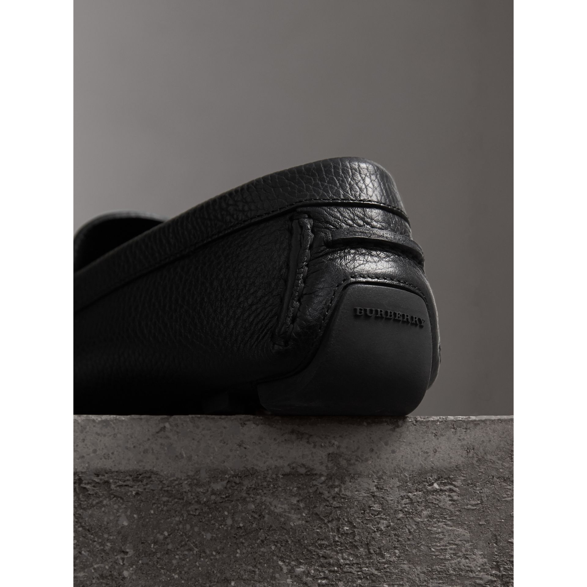 Grainy Leather Loafers with Engraved Check Detail in Black - Men | Burberry - gallery image 3