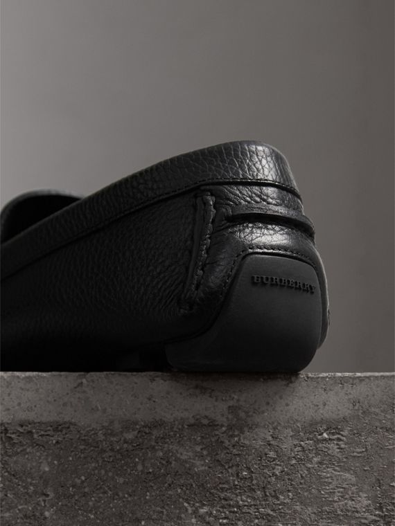 Grainy Leather Loafers with Engraved Check Detail in Black - Men | Burberry - cell image 2