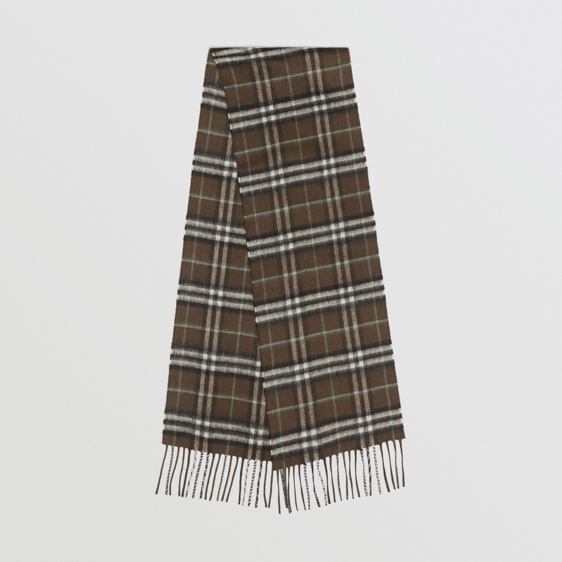 The Mini Classic Vintage Check Cashmere Scarf in Military Brown - Children | Burberry - gallery image 0