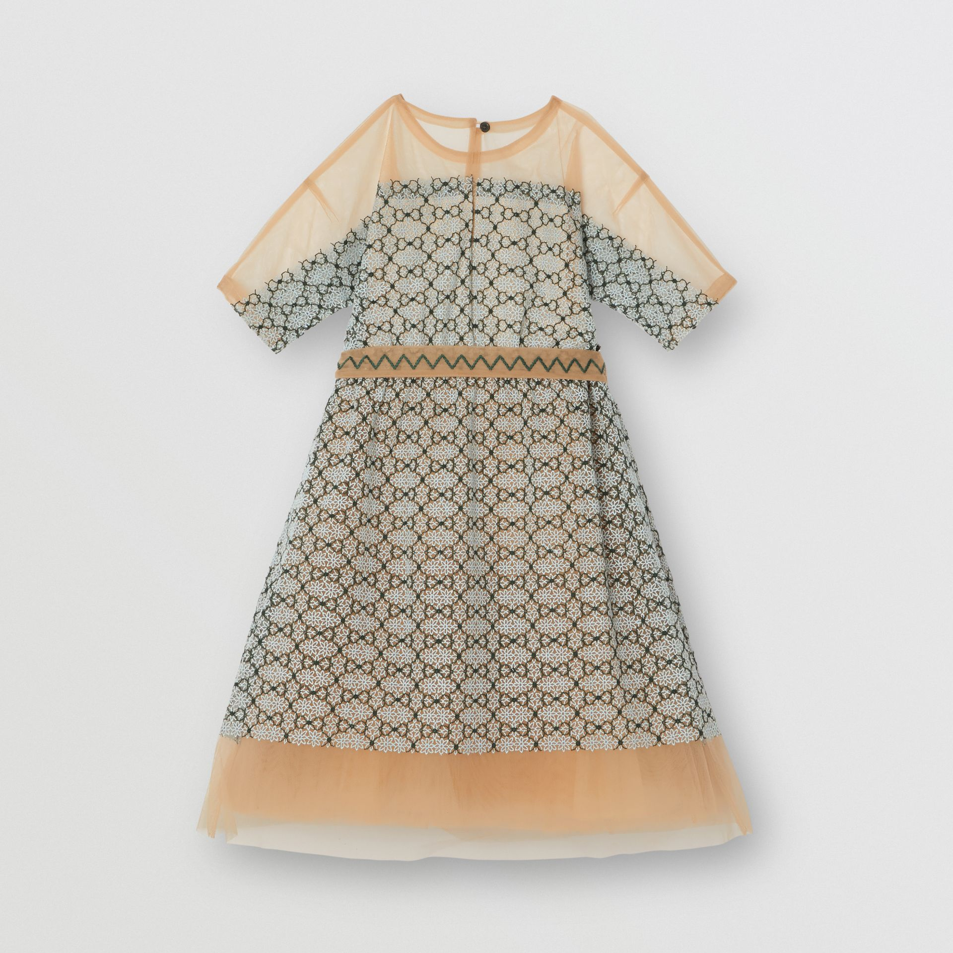 Short-sleeve Embroidered Tulle Dress in Light Blue - Children | Burberry - gallery image 0