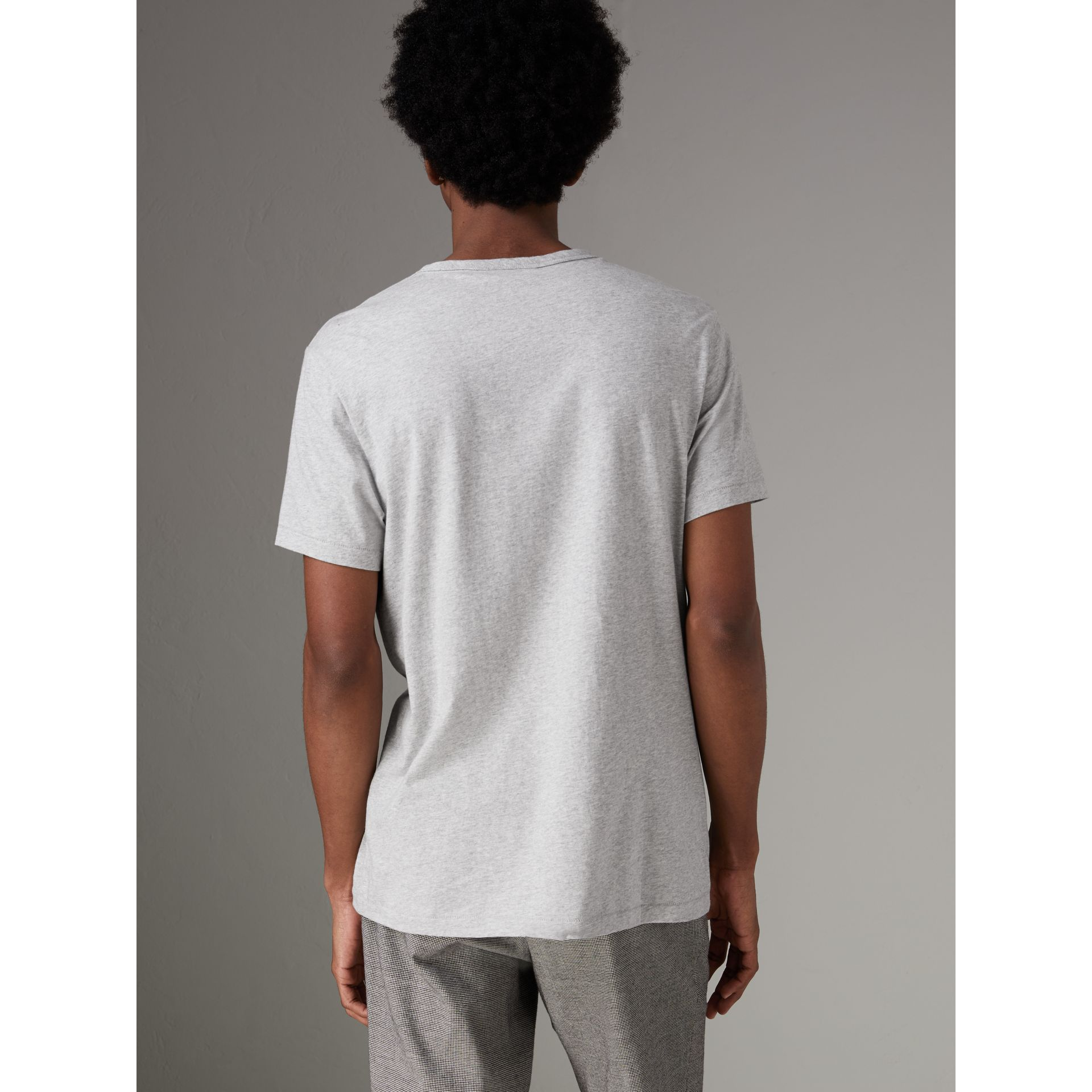 Cotton Jersey T-shirt in Pale Grey Melange - Men | Burberry Australia - gallery image 2