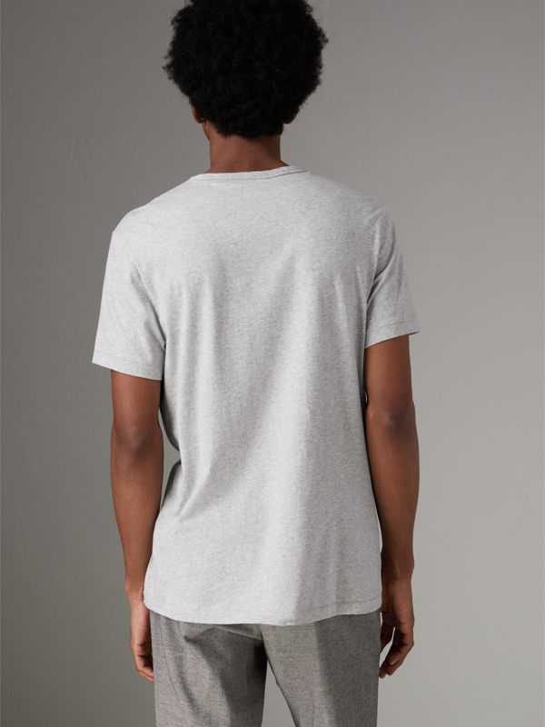 Cotton Jersey T-shirt in Pale Grey Melange - Men | Burberry United Kingdom - cell image 2