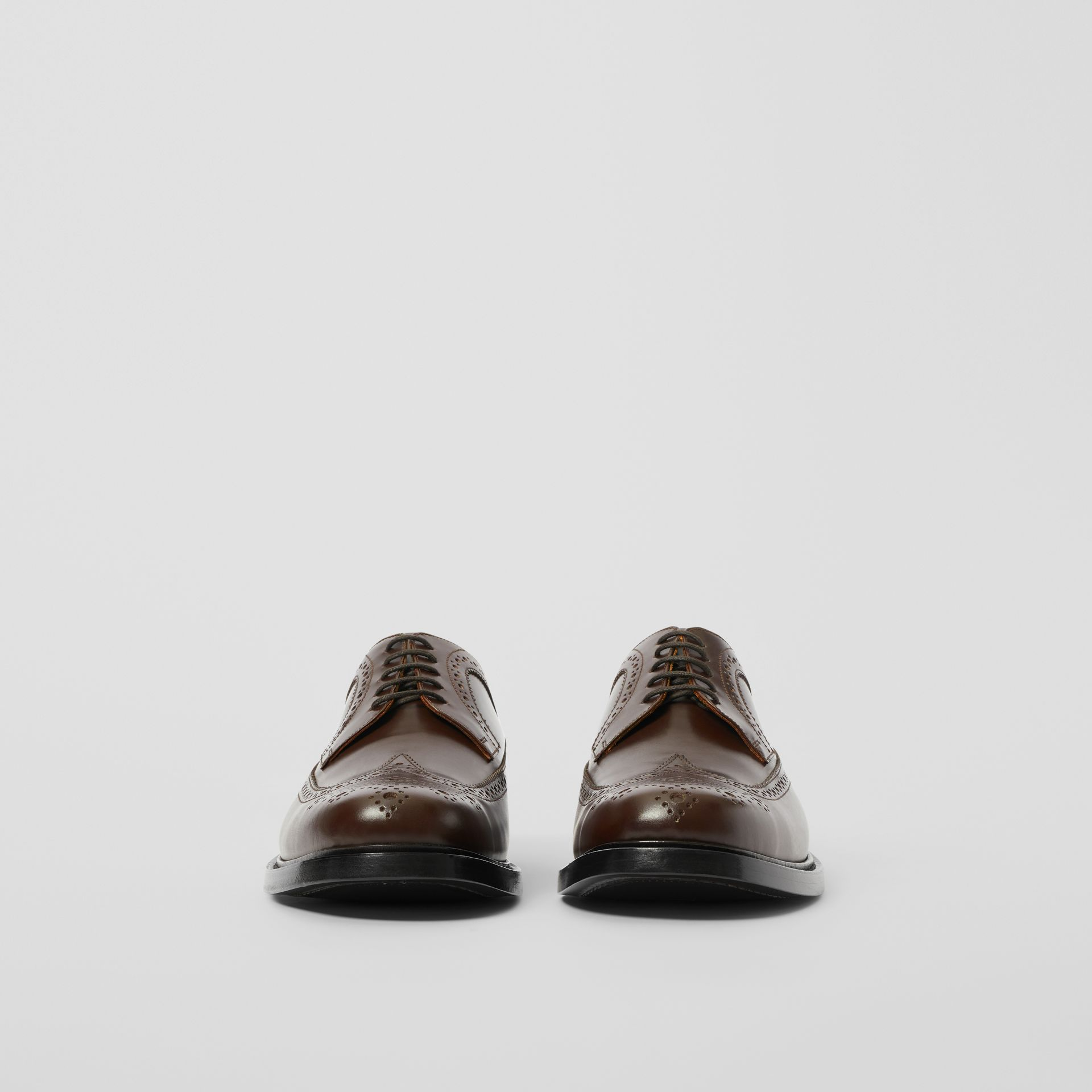 Brogue Detail Leather Derby Shoes in Tan - Men | Burberry - gallery image 2