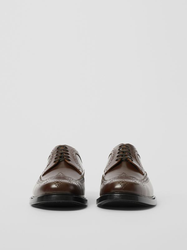 Brogue Detail Leather Derby Shoes in Tan - Men | Burberry - cell image 2
