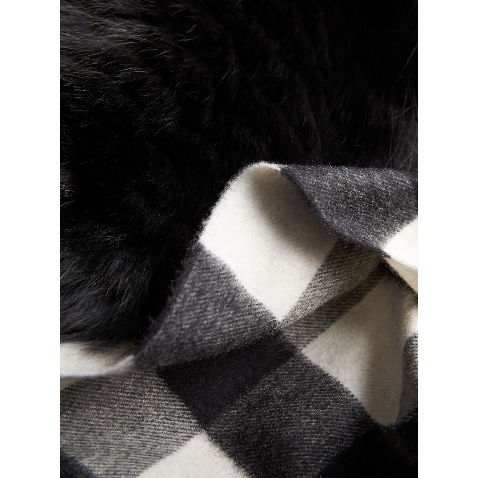 Fox Fur Trim Check Cashmere Scarf in Black/black - Women | Burberry Australia - gallery image 2