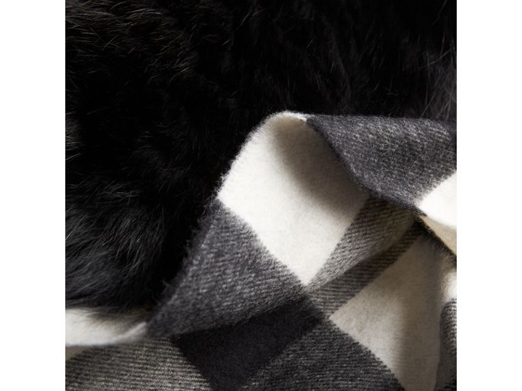 Fox Fur Trim Check Cashmere Scarf in Black/black - Women | Burberry - cell image 1