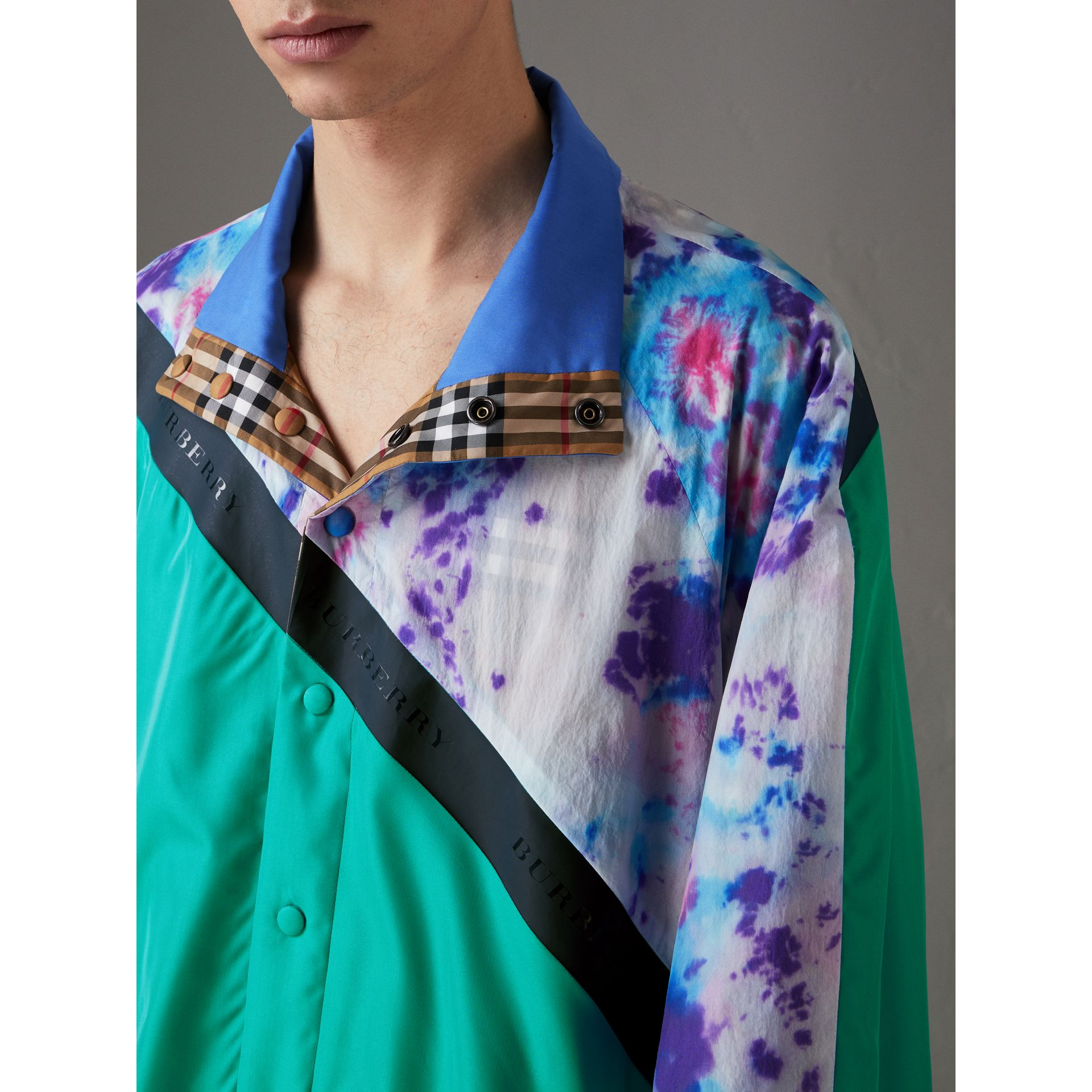 Reversible Tie-dye Silk Shell Suit Jacket in Turquoise | Burberry - gallery image 1
