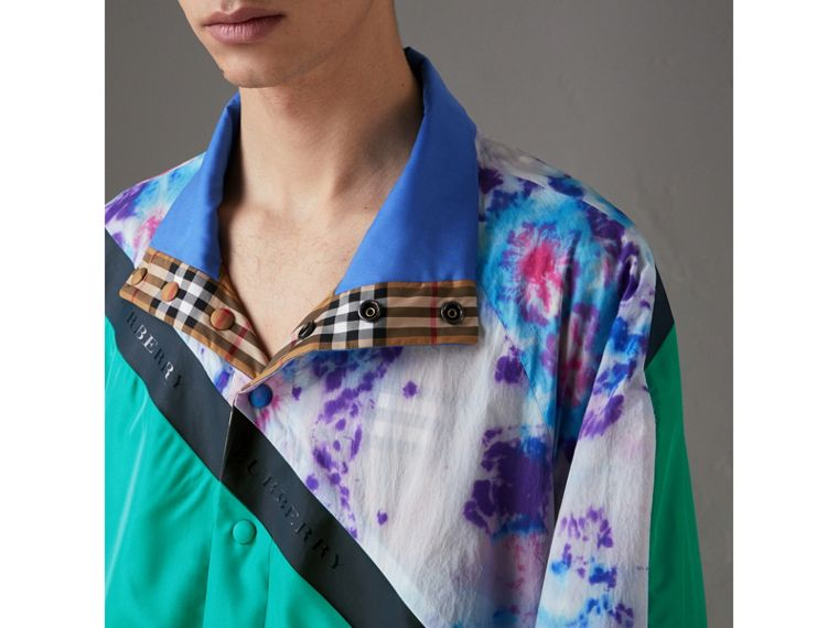 Reversible Tie-dye Silk Shell Suit Jacket in Turquoise | Burberry United Kingdom - cell image 1