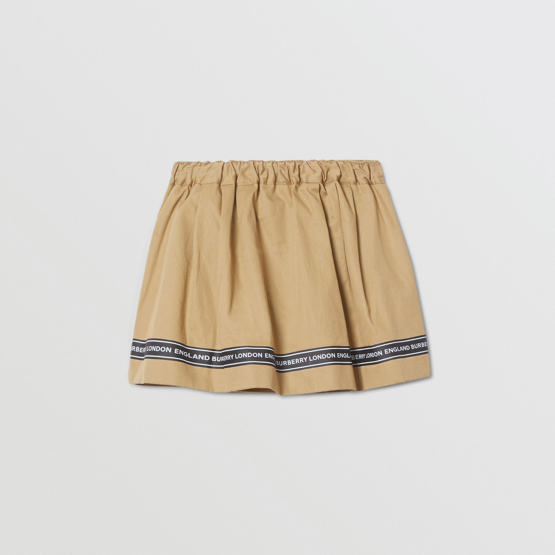 Logo Tape Cotton Twill Skirt in Honey - Children | Burberry United Kingdom - gallery image 3