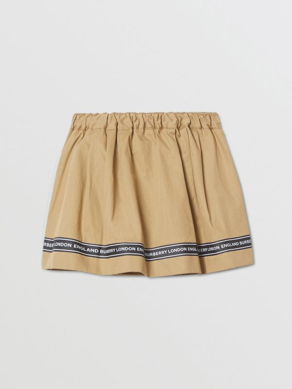 Logo Tape Cotton Twill Skirt in Honey - Children | Burberry United Kingdom - cell image 3