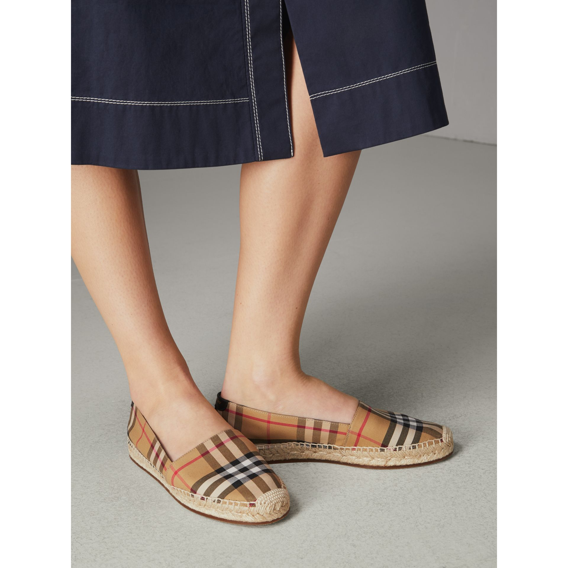 Vintage Check and Leather Espadrilles in Antique Yellow - Women | Burberry United Kingdom - gallery image 2