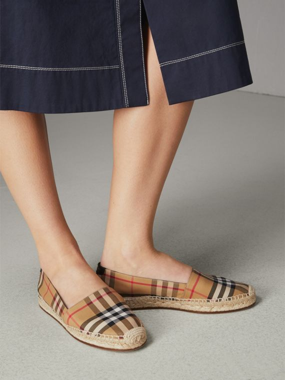 Vintage Check and Leather Espadrilles in Antique Yellow - Women | Burberry United Kingdom - cell image 2