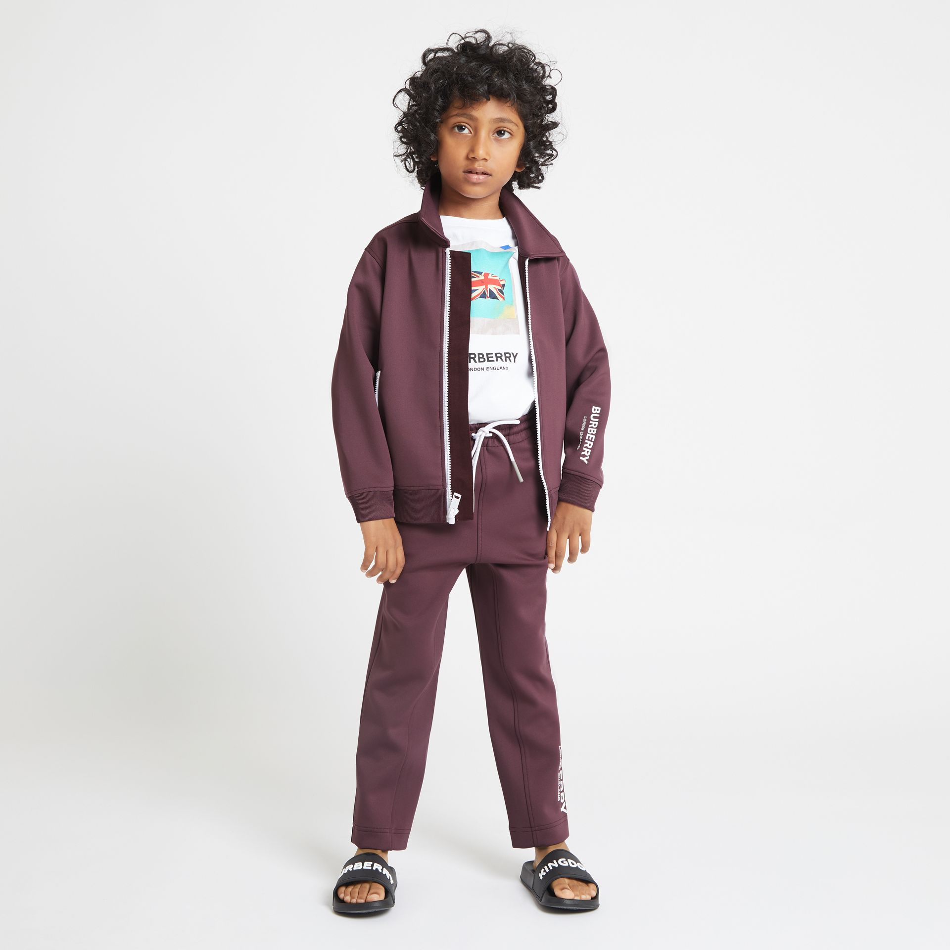 Logo Print Lightweight Track Top in Claret - Children | Burberry - gallery image 2