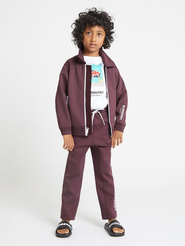 Logo Print Lightweight Track Top in Claret - Children | Burberry - cell image 2