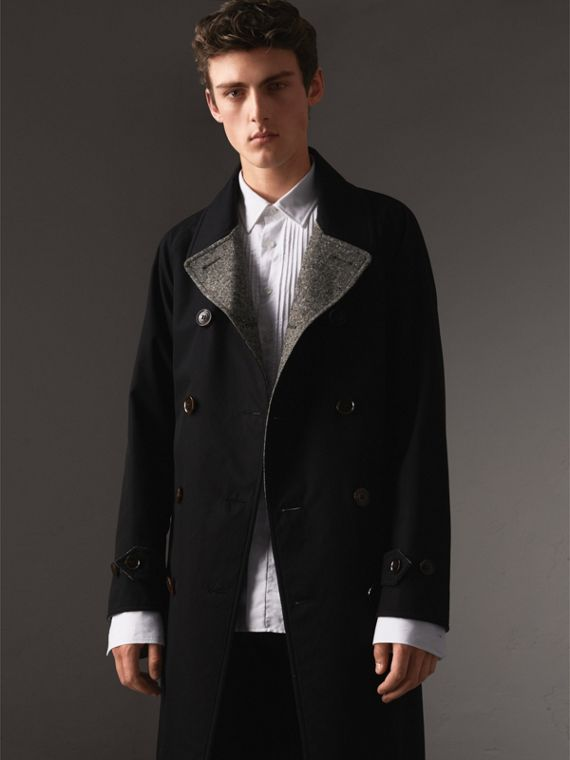 Reversible Donegal Tweed and Gabardine Trench Coat in Black