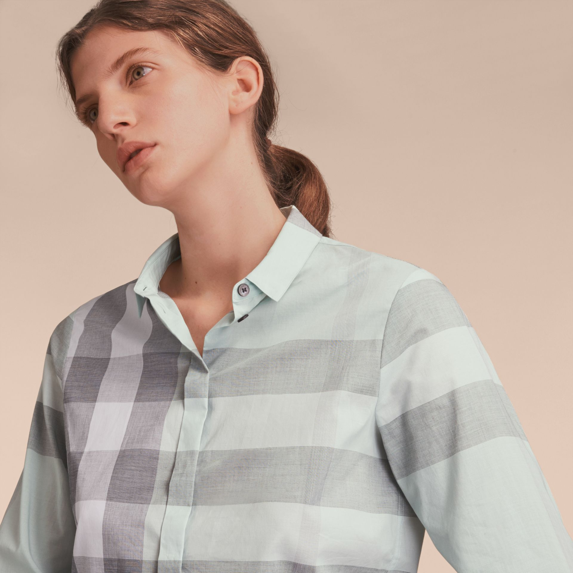 Pale opal Check Cotton Shirt Pale Opal - gallery image 5