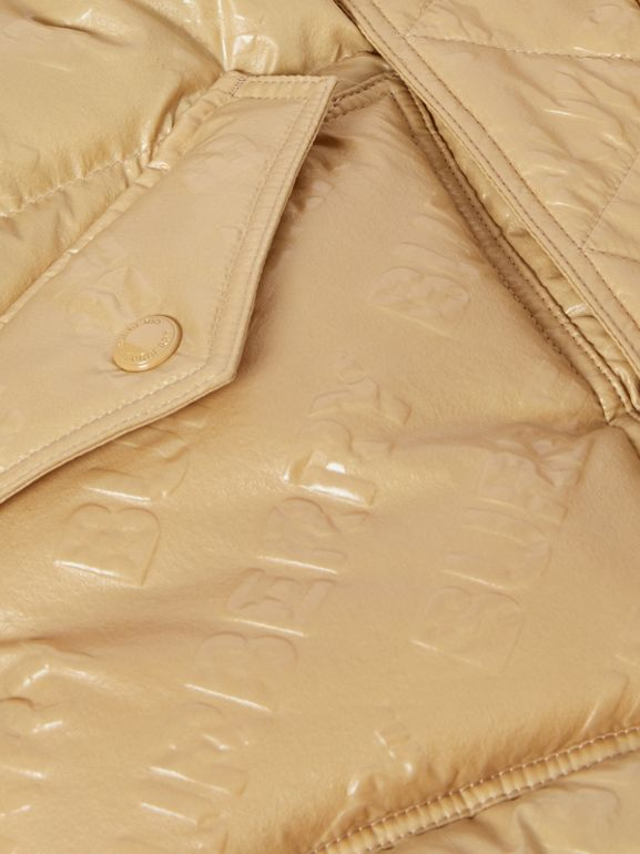 Detachable Hood Embossed Logo Puffer Coat in Honey | Burberry Hong Kong S.A.R - cell image 1