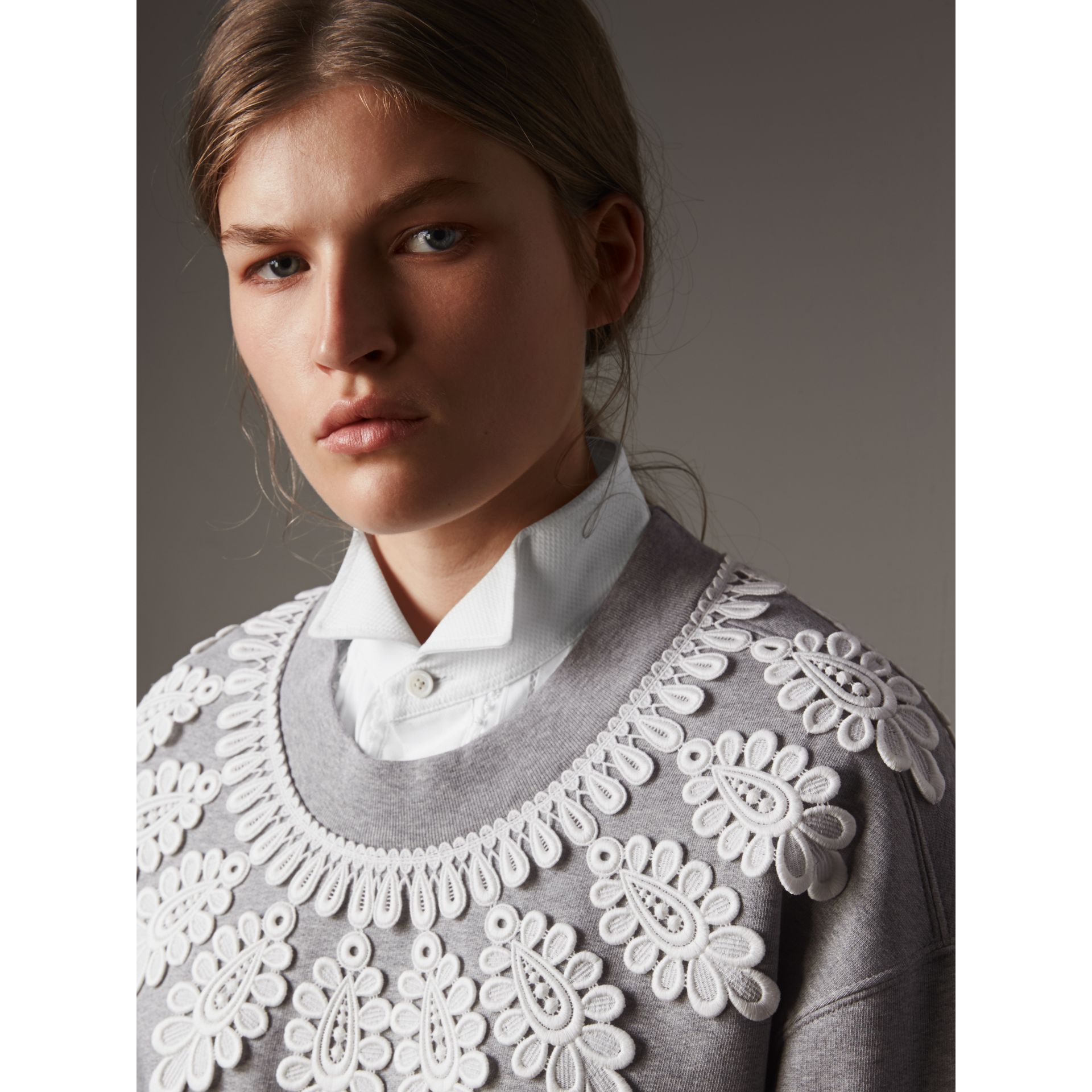Lace Appliqué Jersey Sweatshirt in Grey Melange - Women | Burberry - gallery image 2