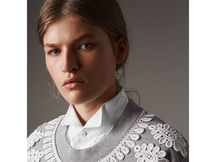 Lace Appliqué Jersey Sweatshirt in Grey Melange - Women | Burberry United Kingdom - cell image 1