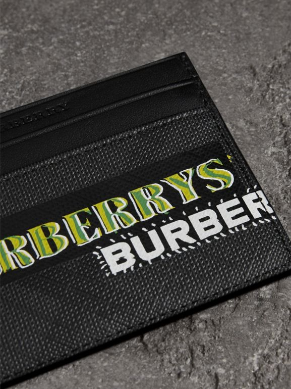 Tag Print London Check Card Case in Charcoal | Burberry - cell image 1