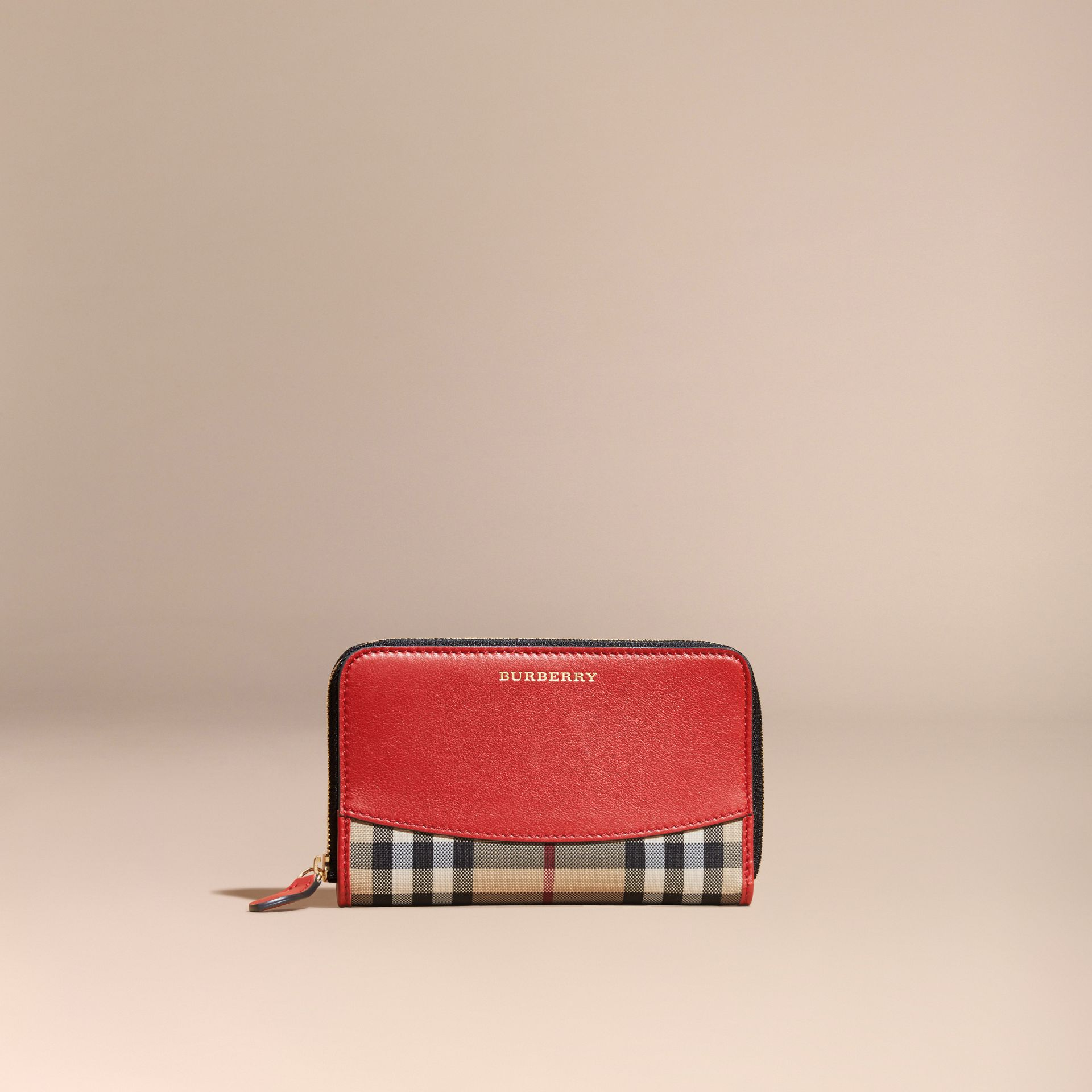 Horseferry Check and Leather Ziparound Wallet in Parade Red - gallery image 6