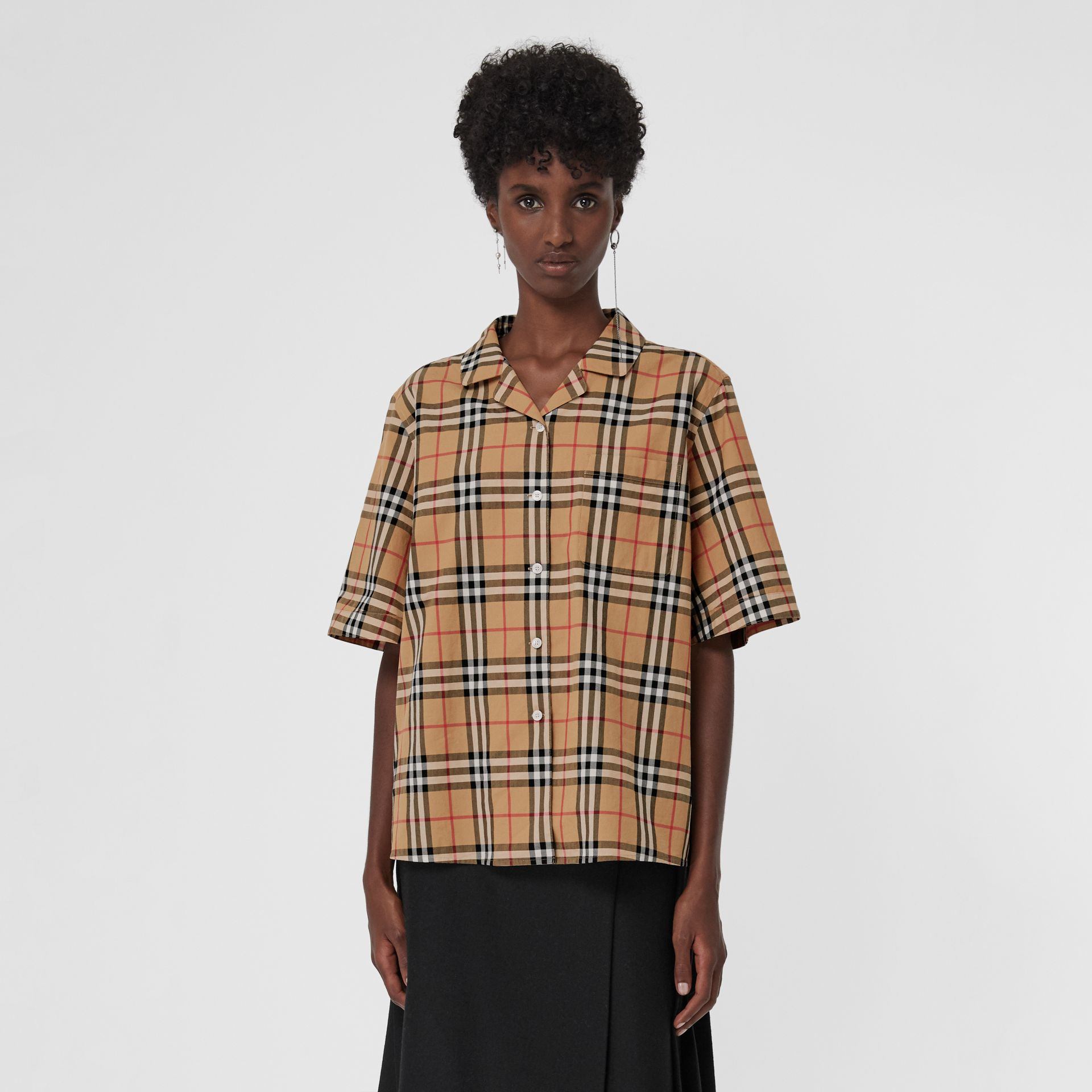 Short-sleeve Vintage Check Shirt in Antique Yellow - Women | Burberry Canada - gallery image 4
