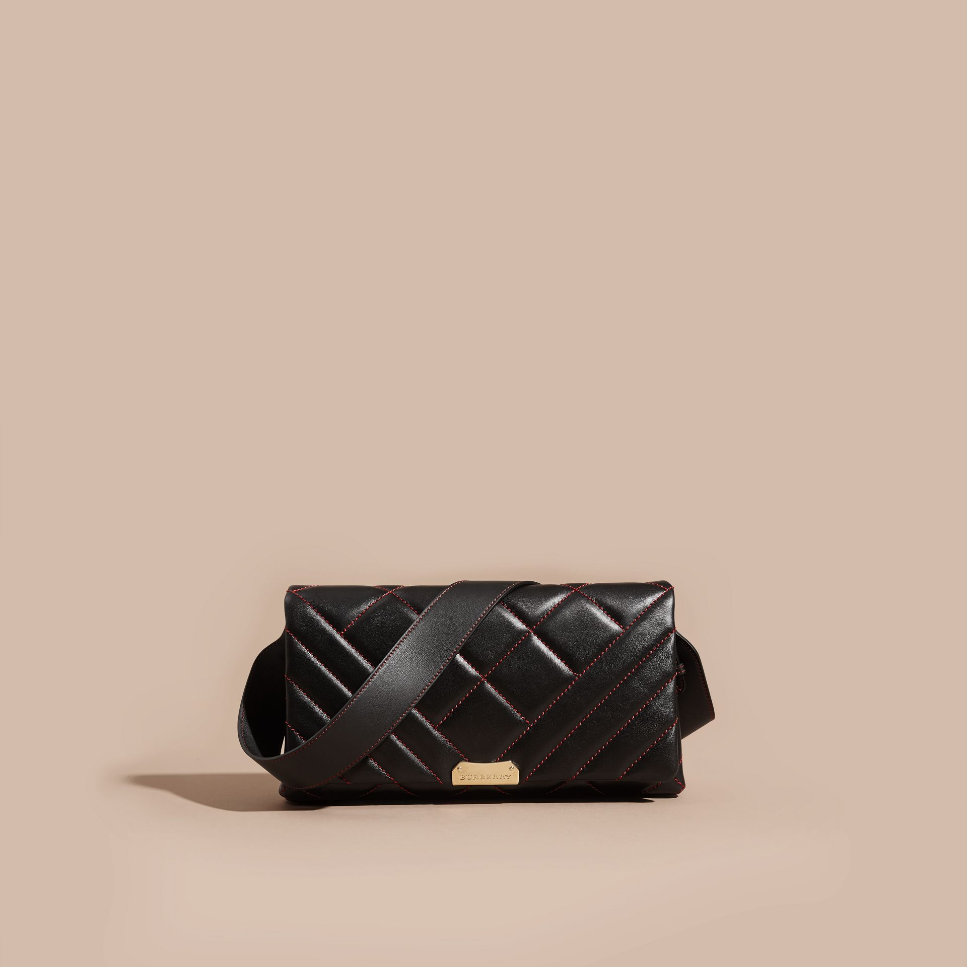 Noir/rouge parade Clutch en cuir matelassé et coton House check - photo de la galerie 8