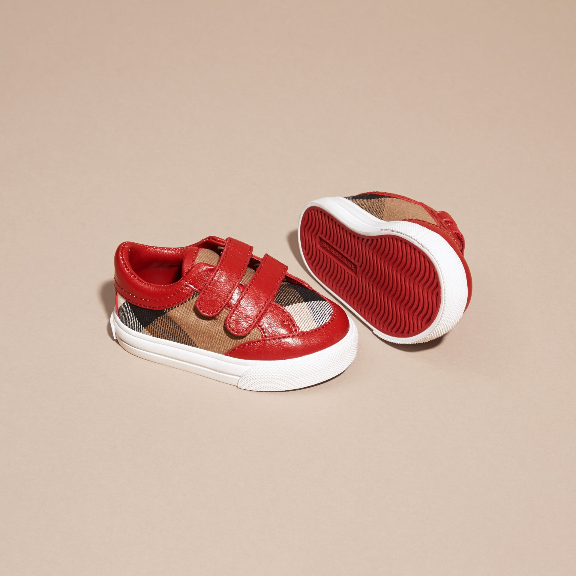 House Check and Leather Trainers in Parade Red - gallery image 2