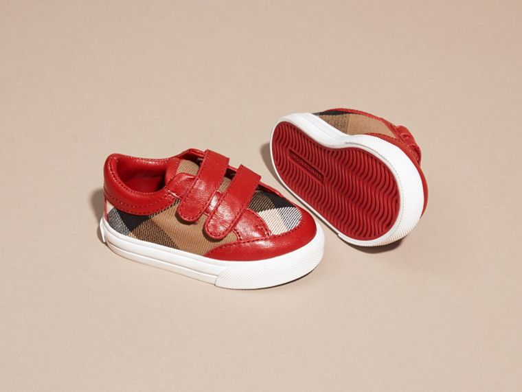House Check and Leather Trainers in Parade Red | Burberry Singapore - cell image 1