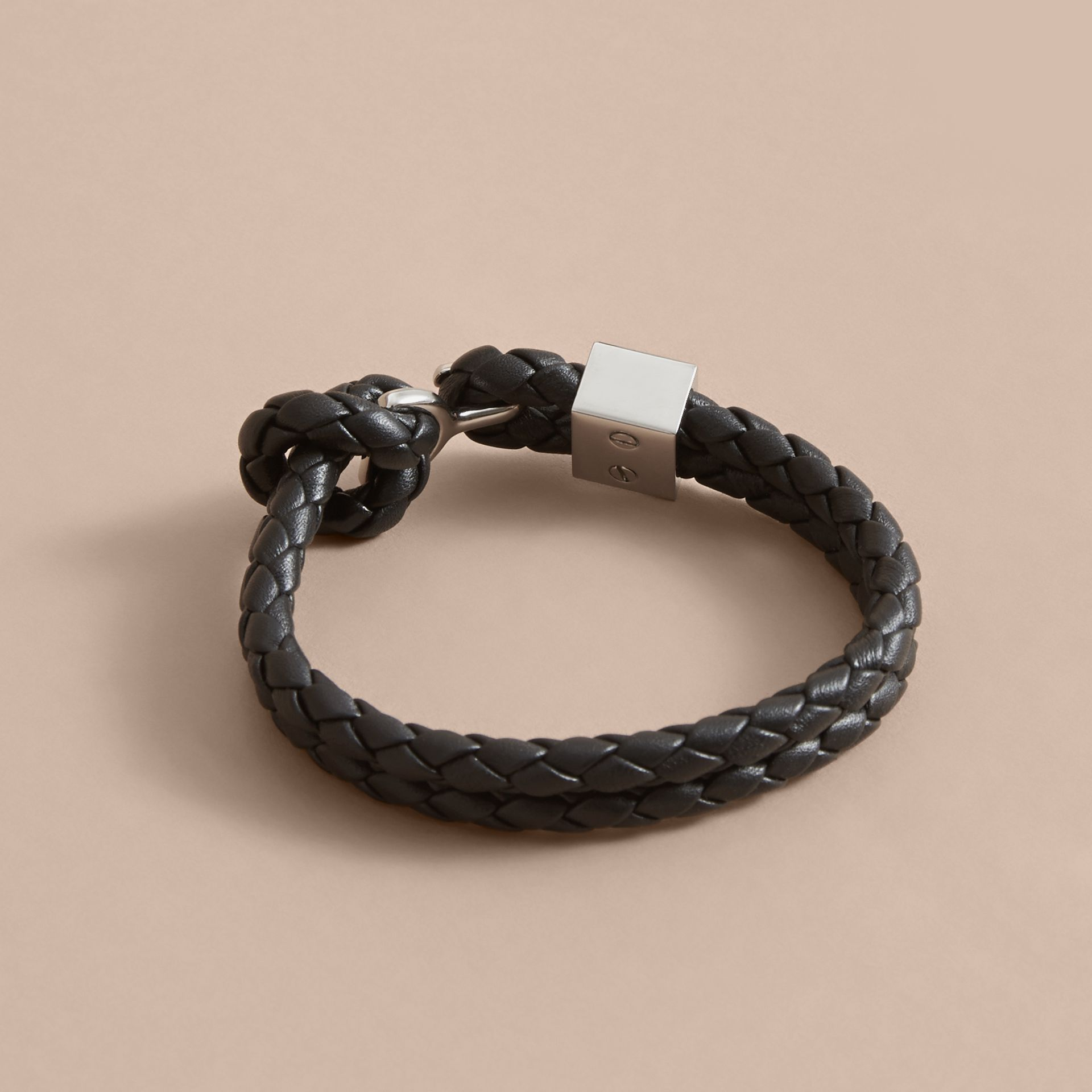 Braided Leather Bracelet Black - gallery image 3