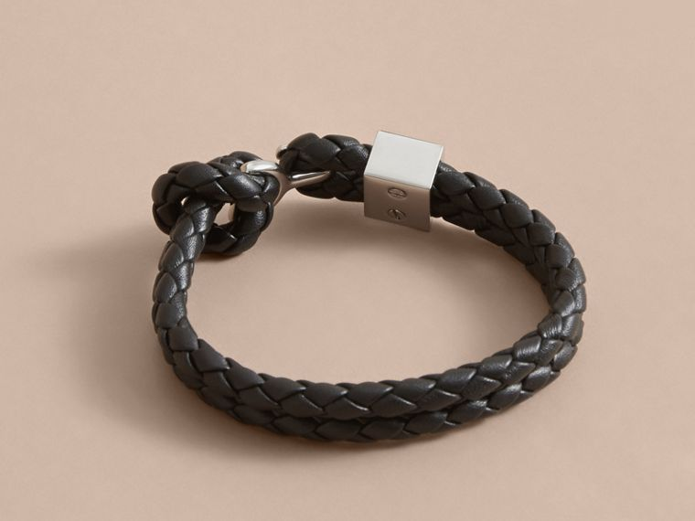 Braided Leather Bracelet Black - cell image 2