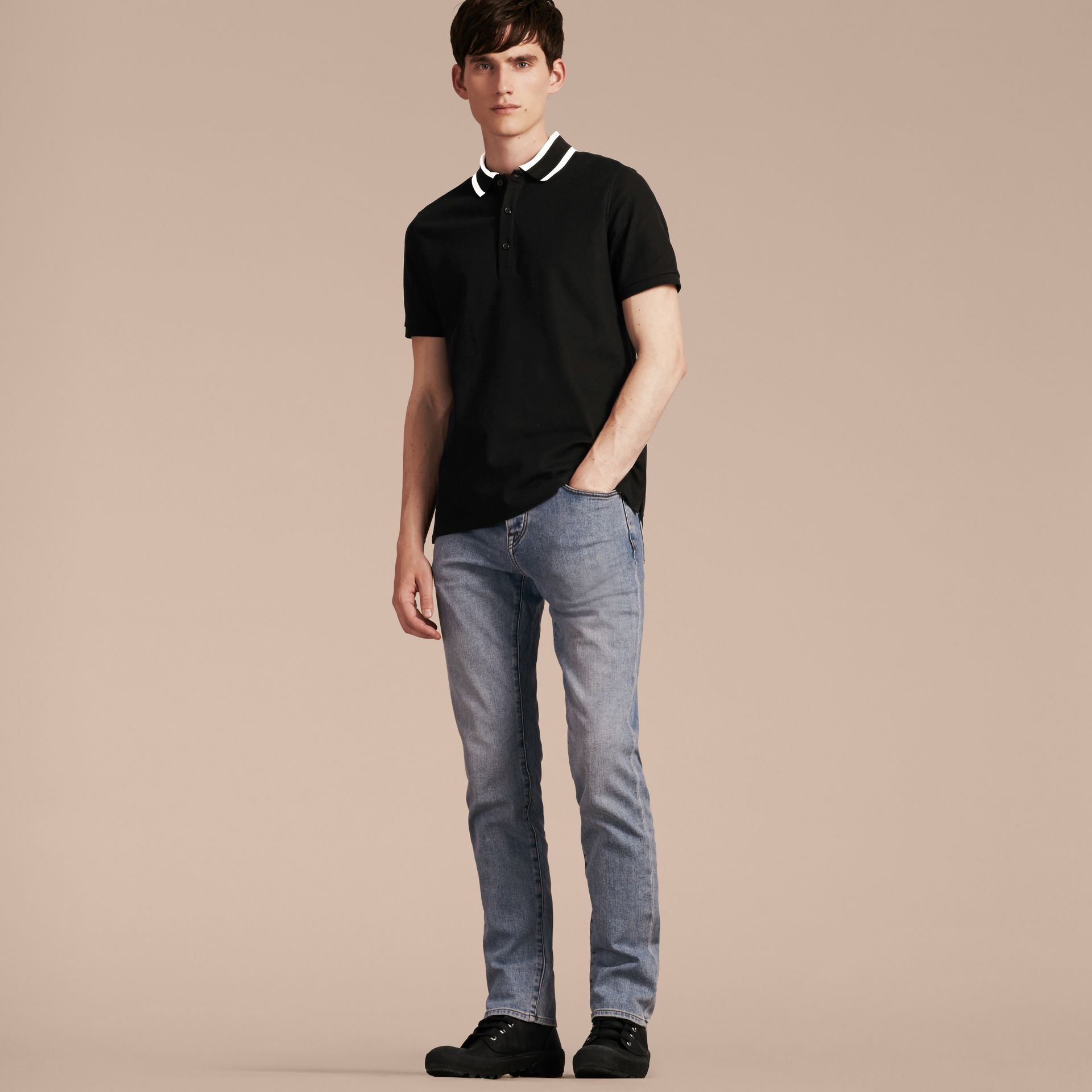 Black Striped Collar Cotton Piqué Polo Shirt Black - gallery image 6