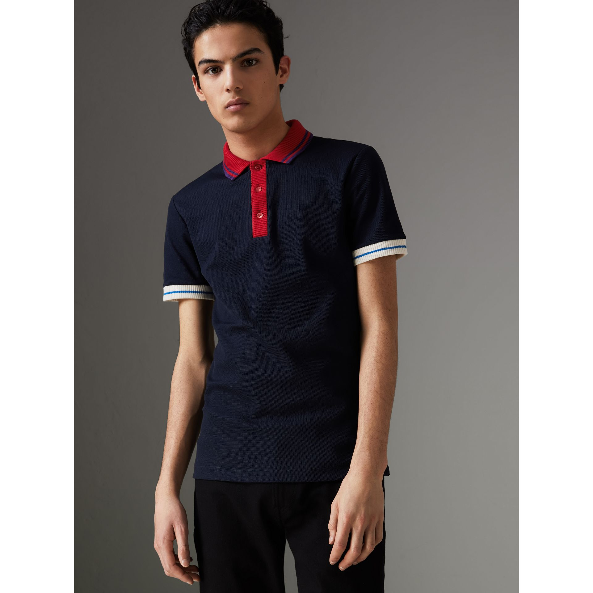 Two-tone Stripe Knitted Detail Cotton Polo Shirt in Navy - Men | Burberry Australia - gallery image 0