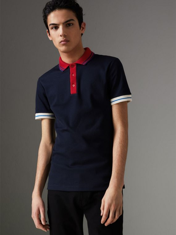 Two-tone Stripe Knitted Detail Cotton Polo Shirt in Navy