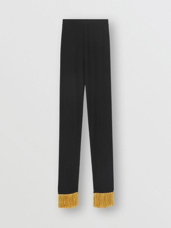 Metallic Fringe Detail Stretch Jersey Leggings in Black