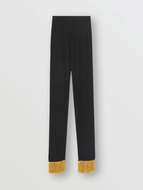 Metallic Fringe Detail Stretch Jersey Leggings in Black - Women | Burberry - cell image 3