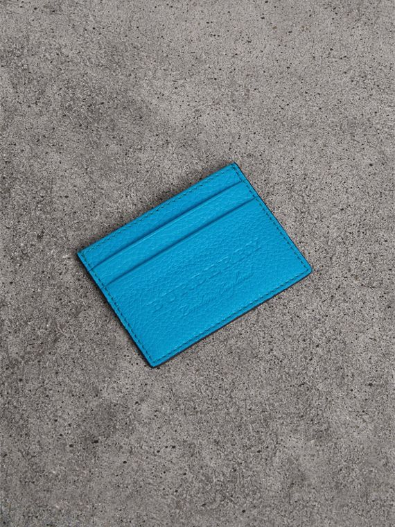 Embossed Textured Leather Card Case in Neon Blue