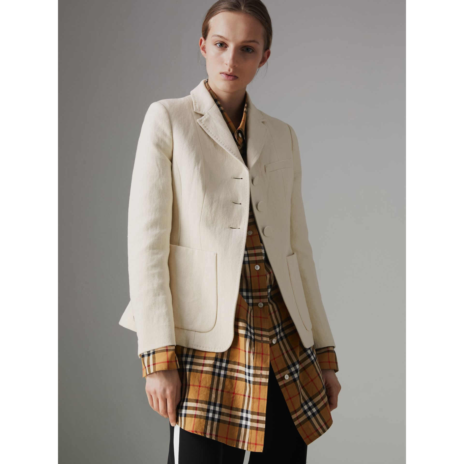 Cotton Linen Fitted Jacket in Off White - Women | Burberry - gallery image 5