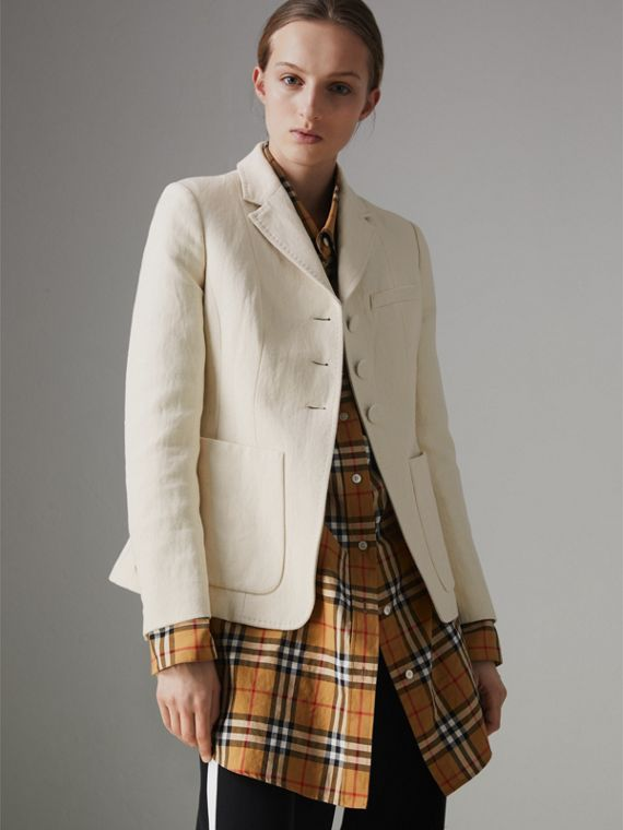Cotton Linen Fitted Jacket in Off White